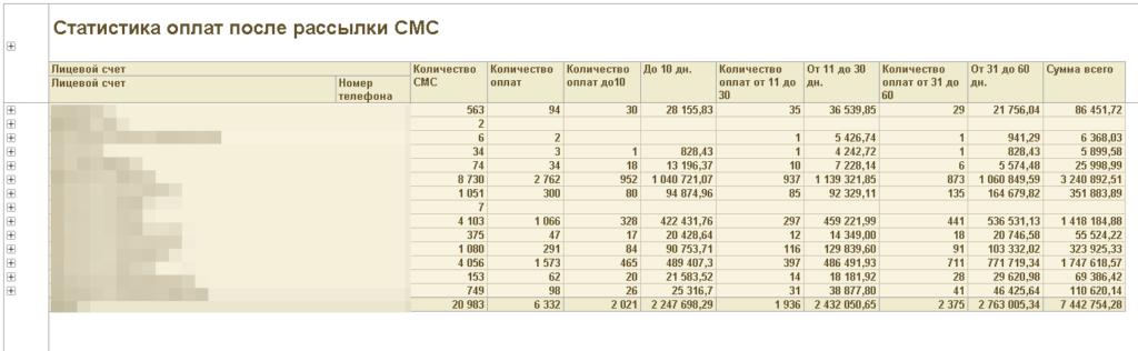 Статистика оплат после рассылки СМС